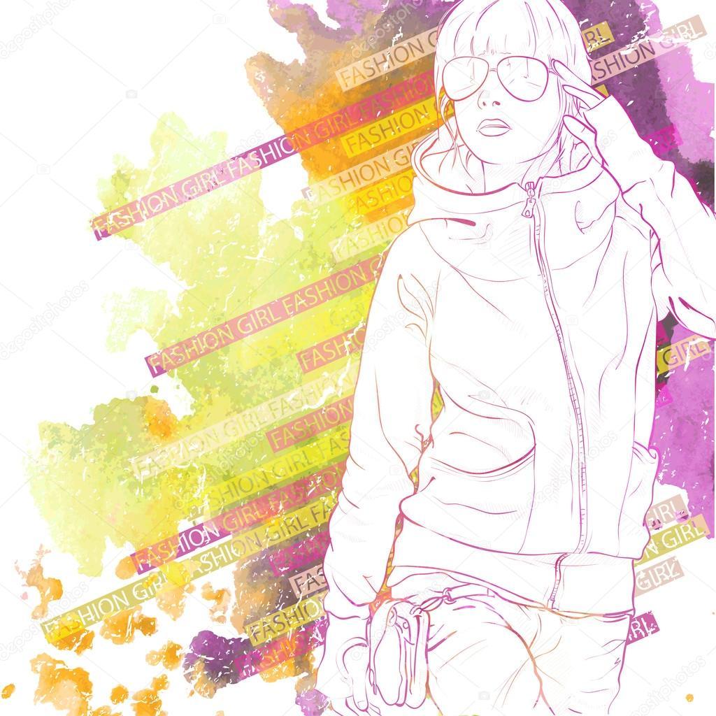 水彩スケッチ風でかわいい女の子のイラスト背景 — ストックベクター
