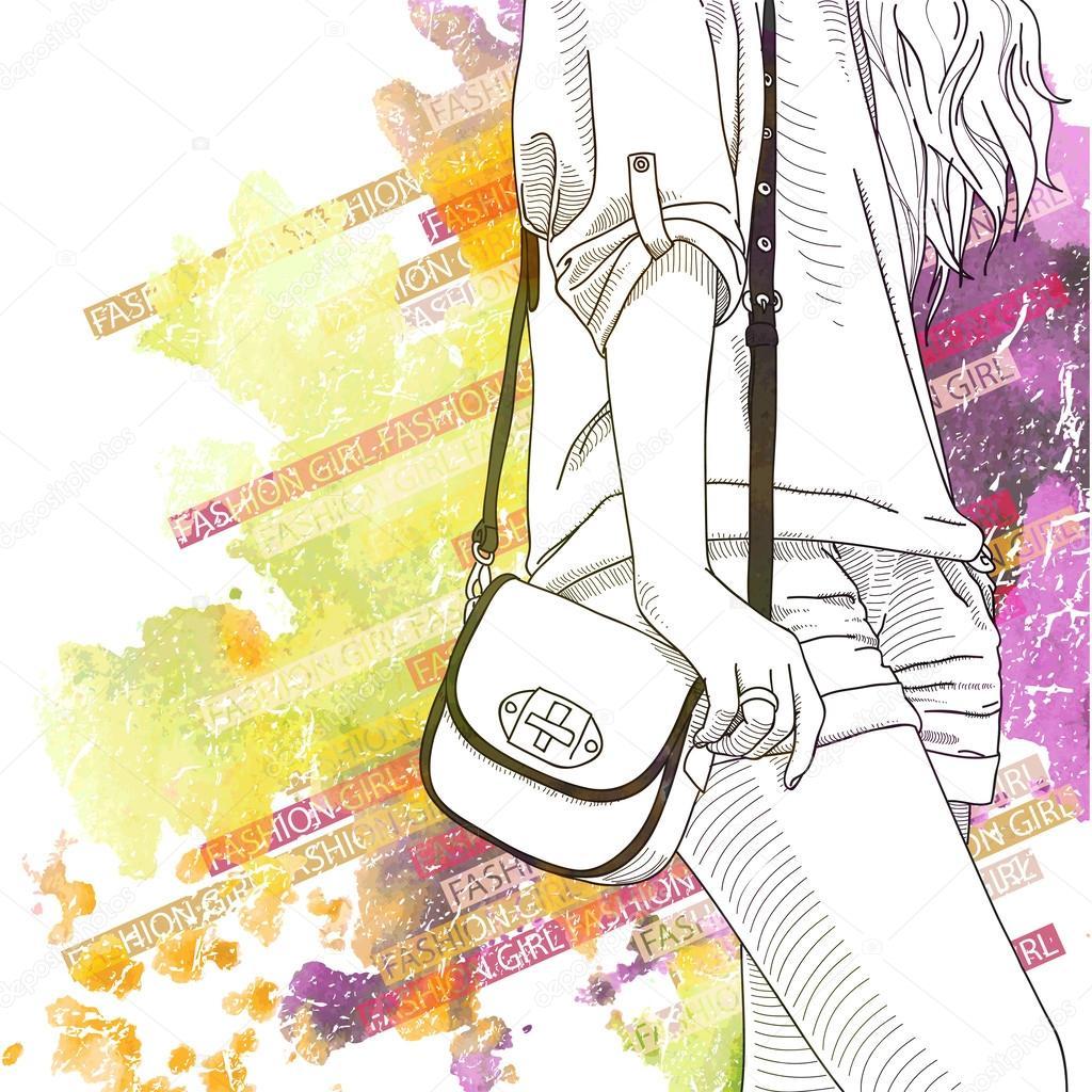 水彩スケッチ風でかわいい女の子のイラスト背景 ストックベクター