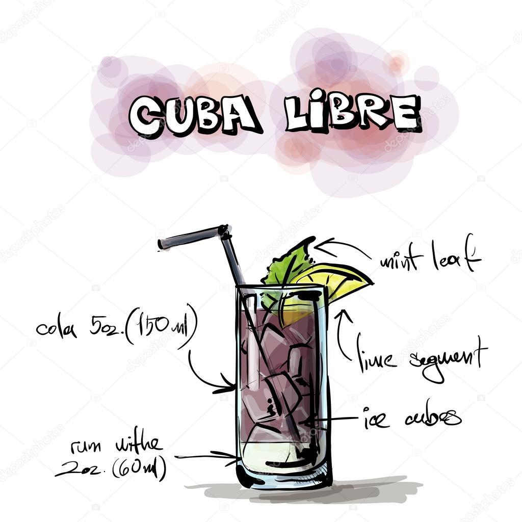 Hand drawn illustration of cocktail. Cuba libre