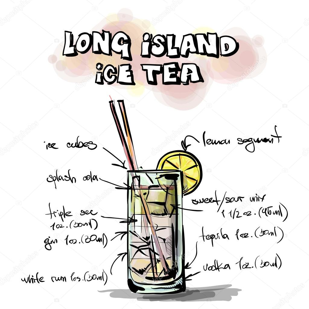Hand drawn illustration of cocktail. Long island tea