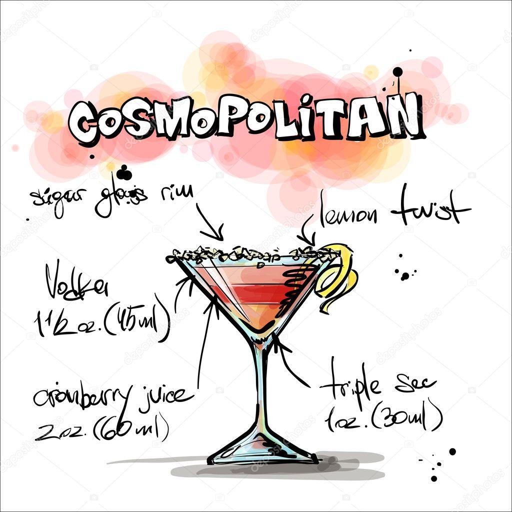 Hand drawn illustration of cocktail. COSMOPOLITAN