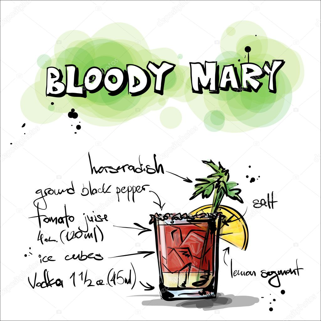 Hand drawn illustration of cocktail. BLOODY MARY