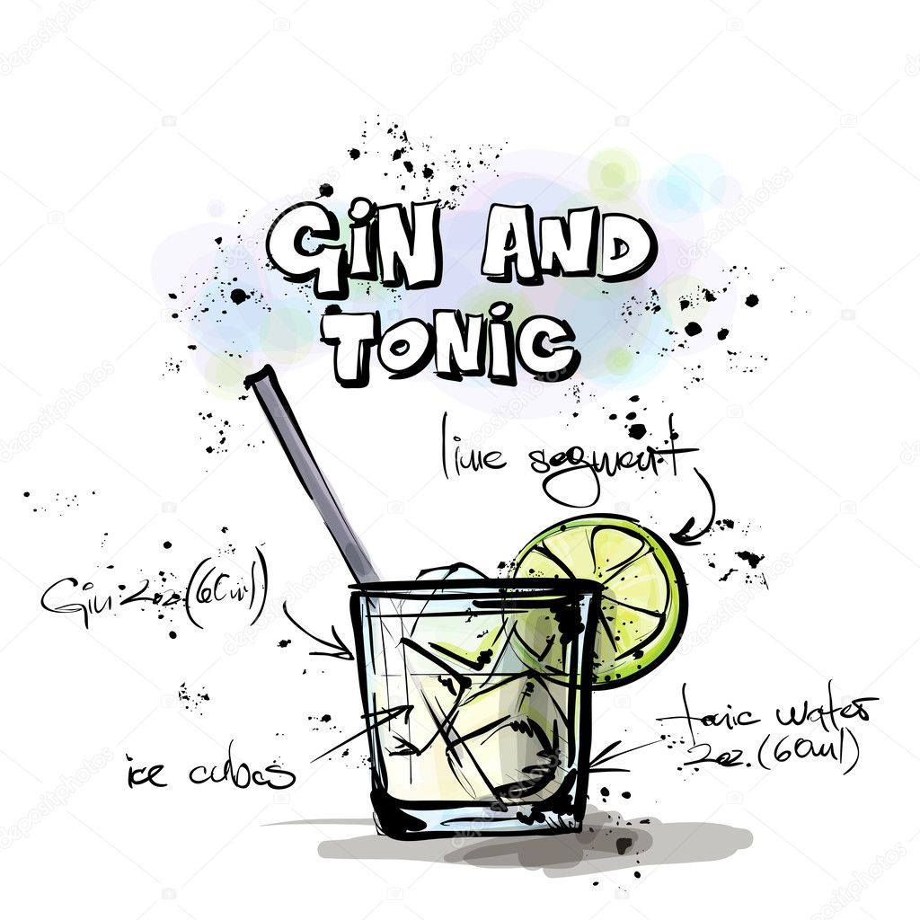 Hand drawn illustration of cocktail. GIN and TONIC