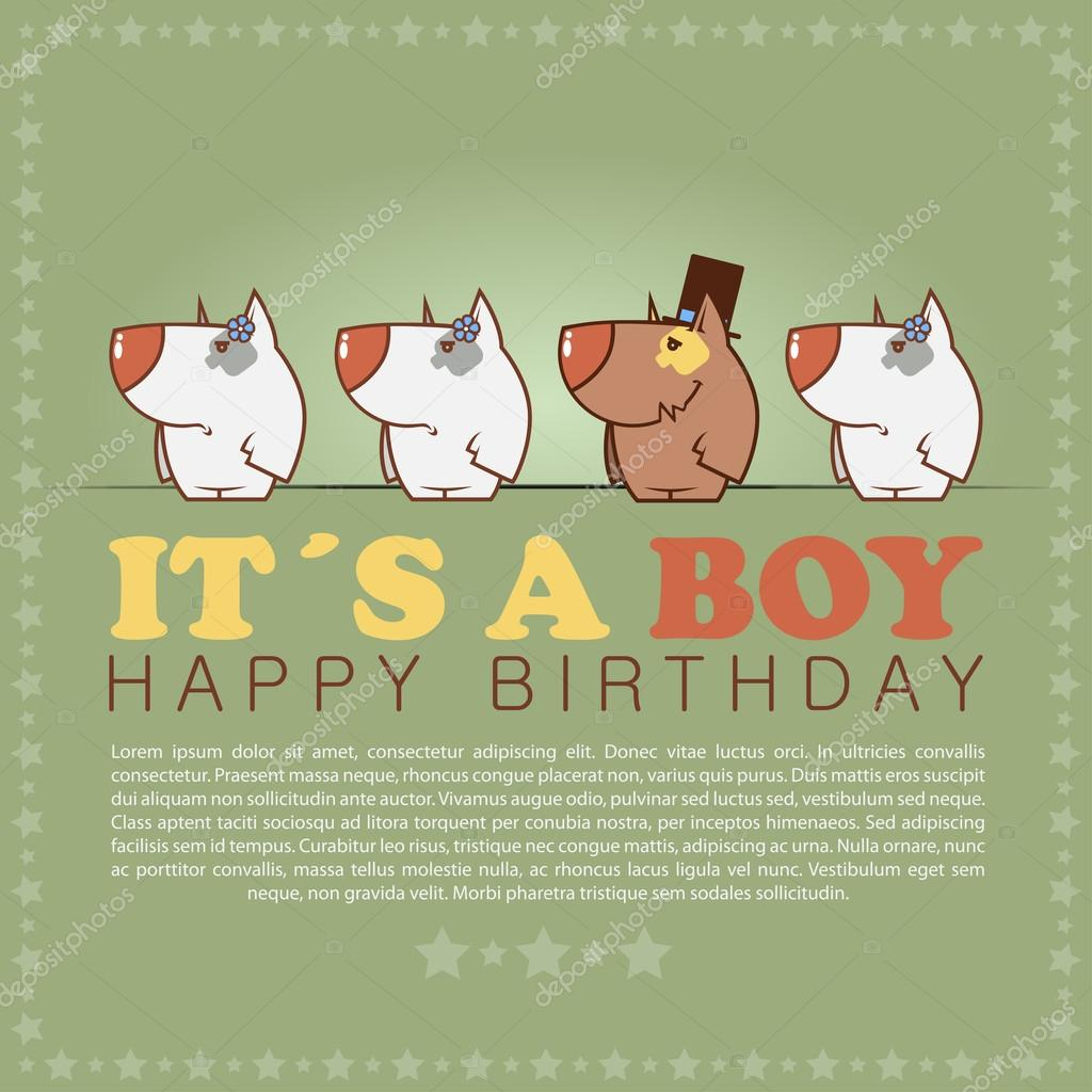 Funny Happy Birthday Greeting Card With Cute Cartoon Dogs Stock Vector