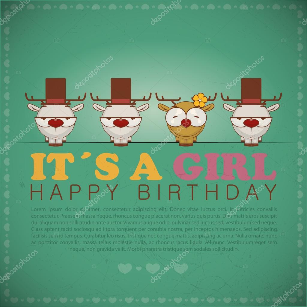 Funny happy birthday greeting card with cute cartoon deers
