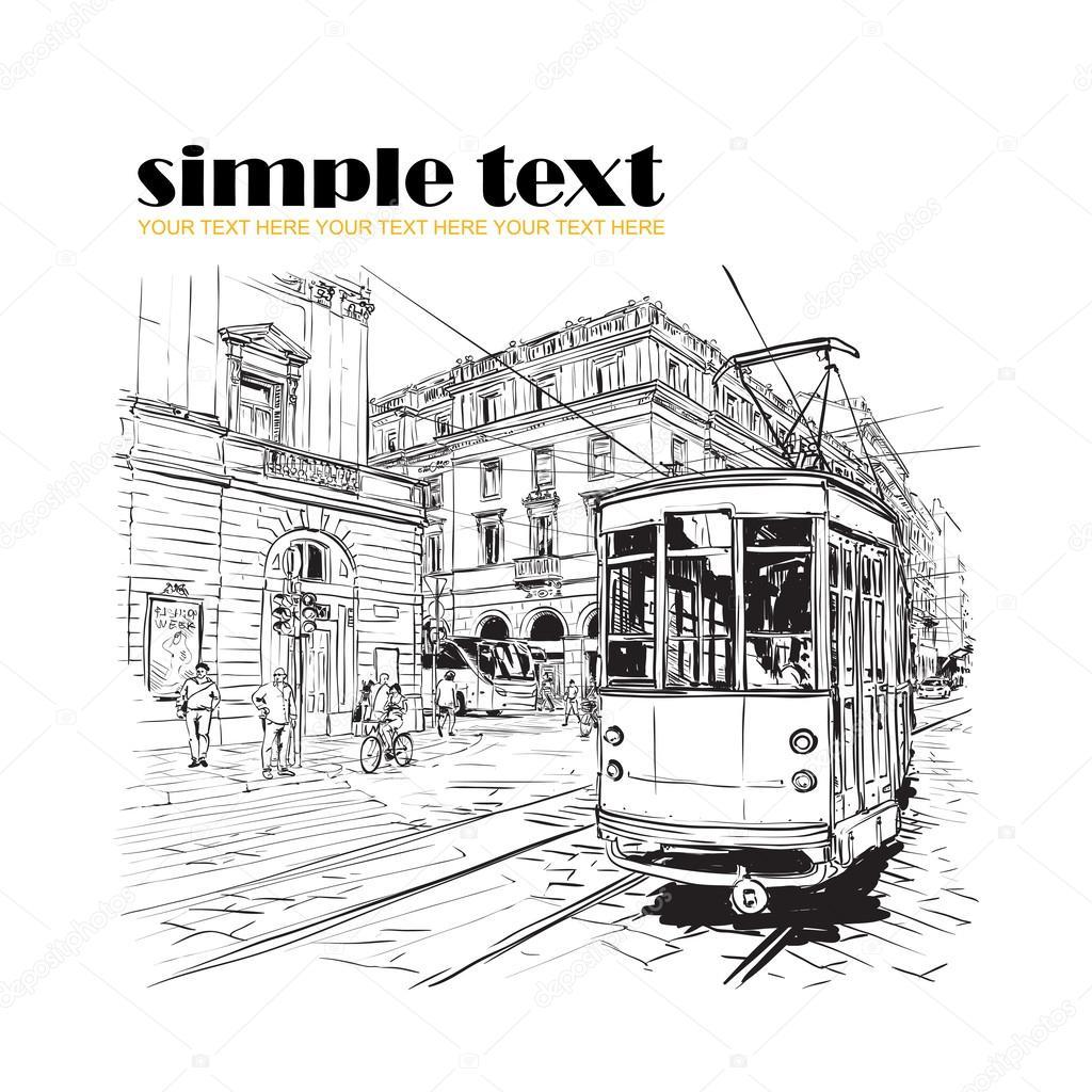 Vector illustration of old tram. — Stock Vector © R_lion_O #34238389