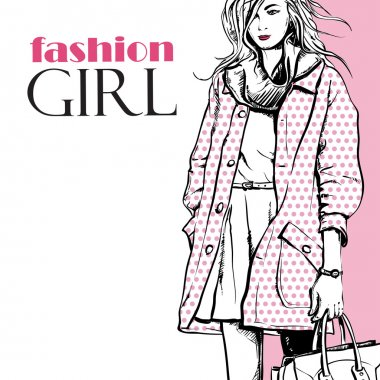 Fashion girl in a coat in sketch-style