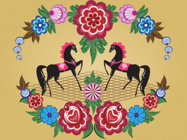 Folklore pattern, Gorodets painting, Russia