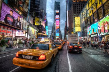Taxi queue in Times Square, New York