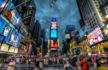 Busy Times Square at night, Manhattan, New York, USA