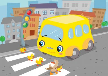 Little bus and duck family