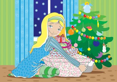 Happy blond girl with christmas gifts stock vector