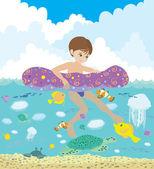 Boy and underwater dwellers