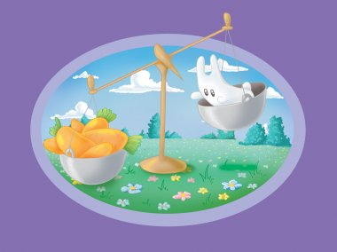 Scales standing on grass. Scales with carrots outweighs bunny (L