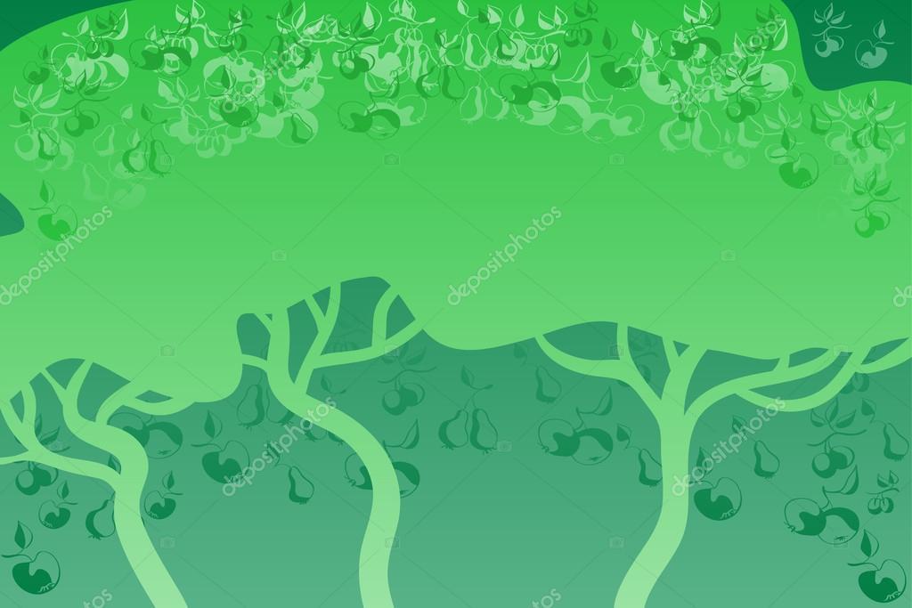 Green fruit trees