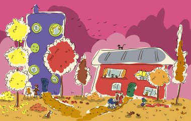 Fall houses