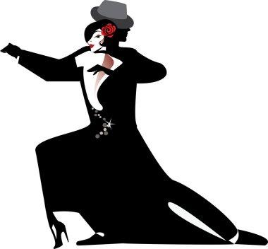 Silhouette of couple dancing tango