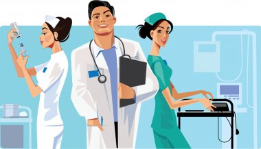 Health care workers, doctor and nurse clip art vector