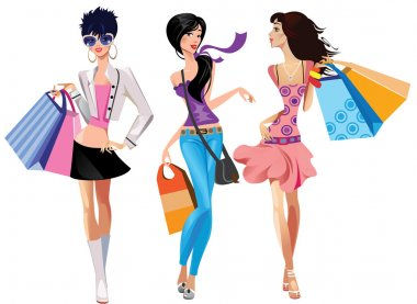 Three fashion girls stock vector