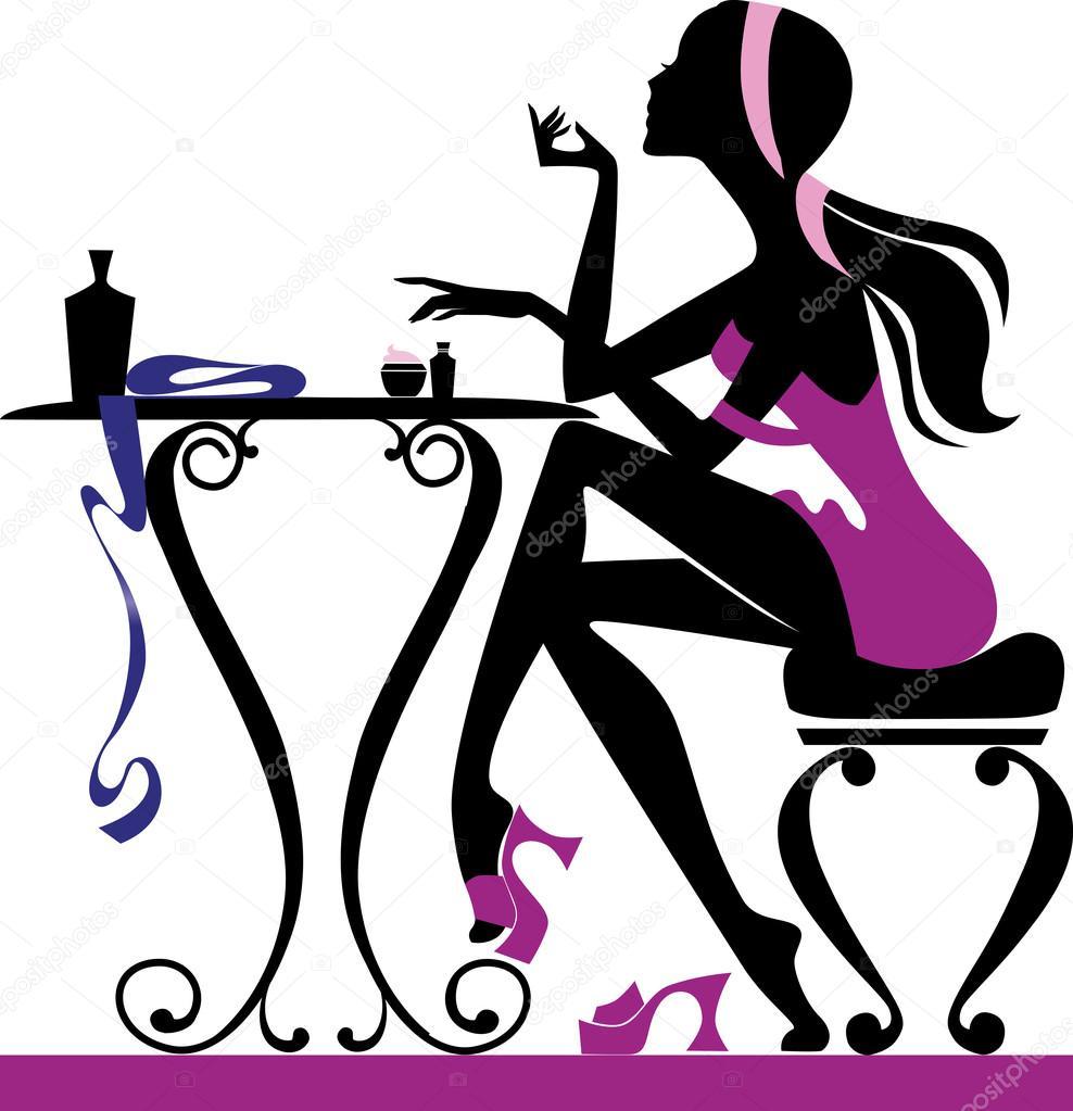 pretty female sitting at dressing table stock vector nail polish bottle clip art free Nail Polish Clip Art
