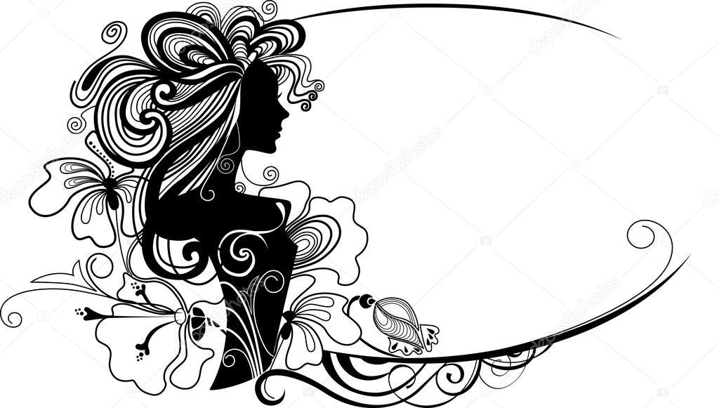 Vector ilustración de un marco decorativo con una silueta de la niña ...