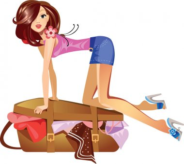 girl which closes the suitcase