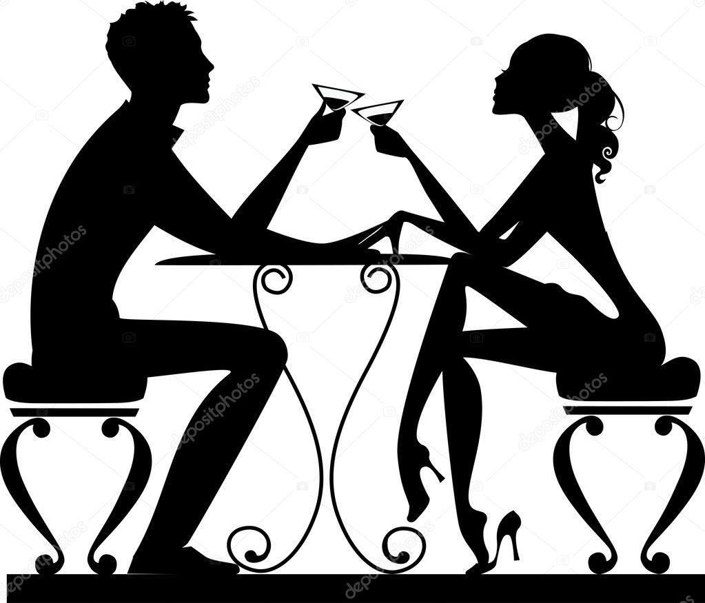Silhouette of a man and a woman at a table with drinks stock vector