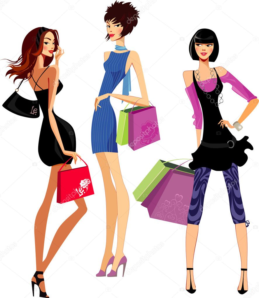 fashion girls shopping stock vector filitova 31051599 rh depositphotos com fashion vector illustrations fashion victorian era
