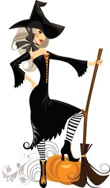 Pretty cartoon witch