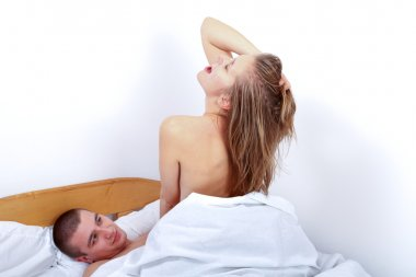 Woman on top during making love