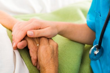 Social care provider holding senior hands in caring attitude - helping elderly people stock vector