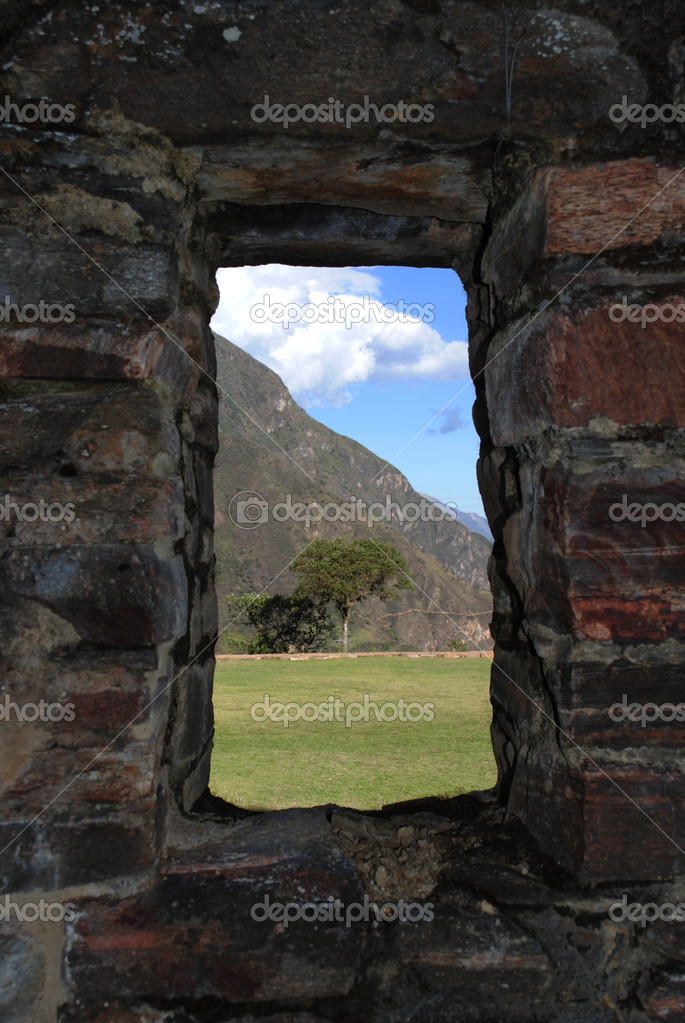 árbol enmarcado por ventana de piedra antigua — Foto de stock ...