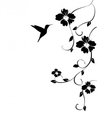 "Картина, постер, плакат, фотообои ""колибри и цветы тюльпаны ретро"", артикул 27106207"