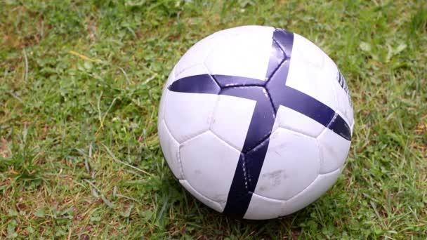 Detail soccer player kicking ball on field