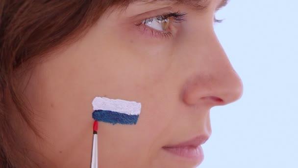 Yüz Boyama Rusya Bayrağı Stok Video Jiovani 34028929