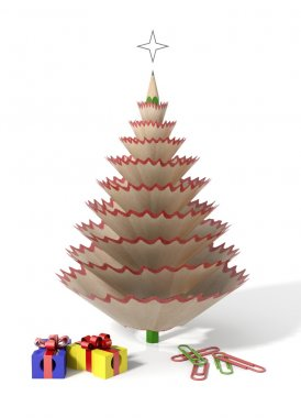 Christmas tree made with a pencil and its wooden shavings