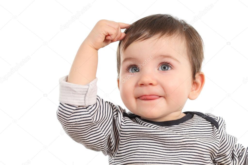 Idee Pose Fotografiche : Baby denken eine idee u stockfoto antonioguillemf