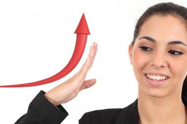 Business girl raising a growth graph