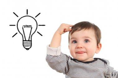 Baby thinking an idea with a bulb