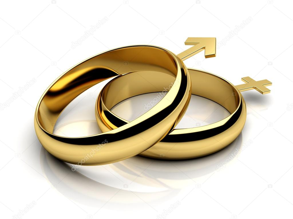 Two wedding rings with male female symbols Stock Photo
