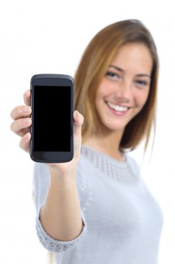 Happy pretty woman showing a blank smart phone screen