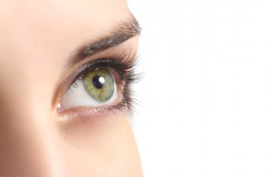 Close up of a green woman eye