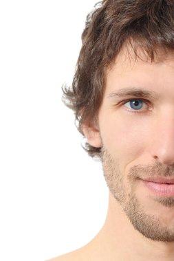 Facial close up of a half attractive man face