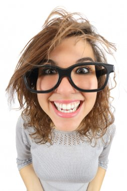 Wide angle view of a geek woman with glasses smiling