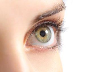Close up of a beautiful woman green eye