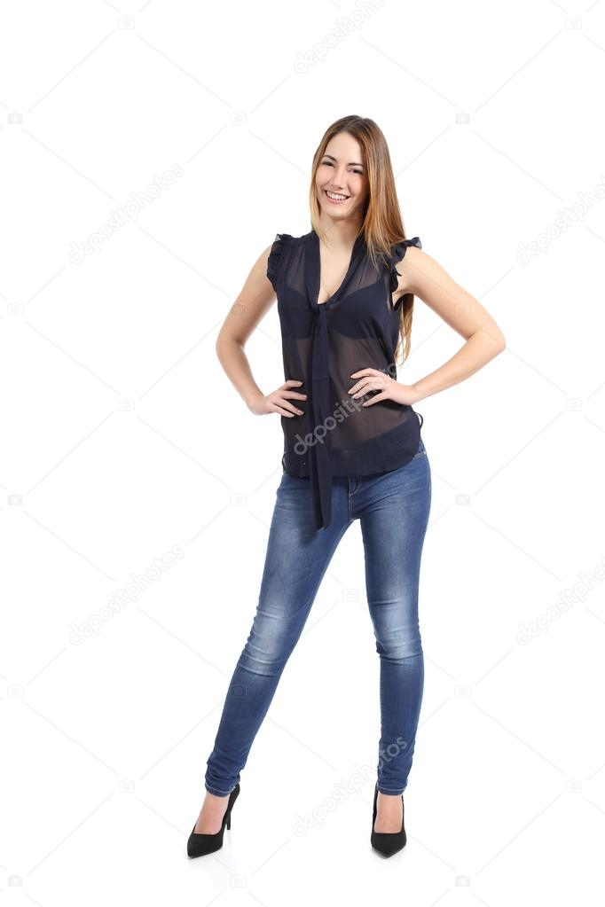 Retrato de cuerpo entero de una mujer feliz casual modelo for Comprar espejo cuerpo entero