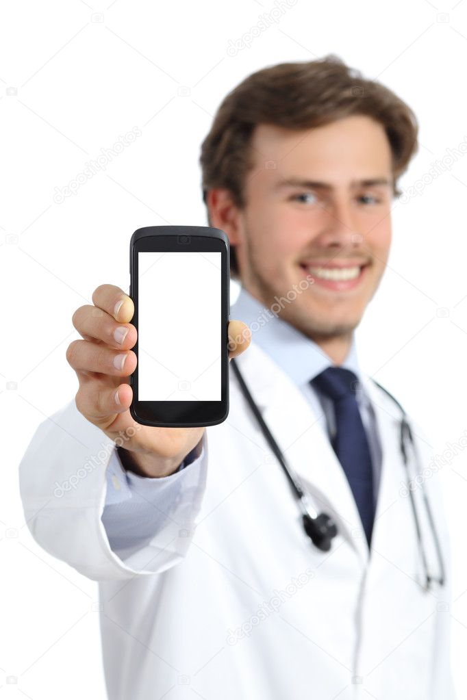 Happy doctor man showing a blank smart phone screen