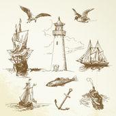 ručně kreslenou námořních prvky