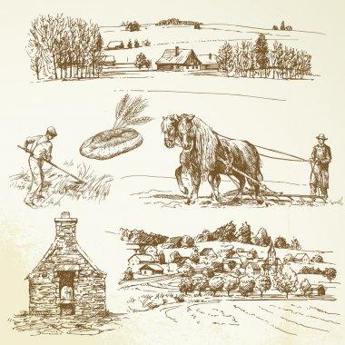 Rural landscape, agriculture, village