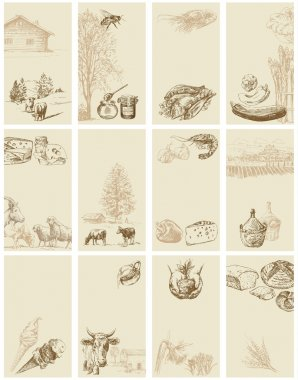 Vintage business cards - hand drawn collection